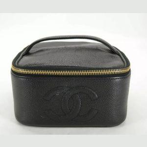 100% Auth CHANEL Vanity Black Caviar Skin Hand Bag
